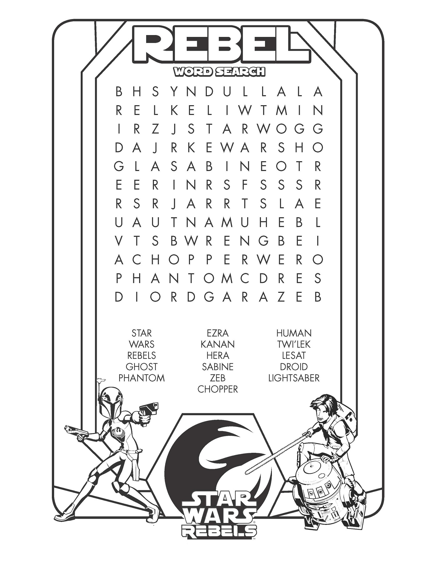 Star Wars Word Search High Quality