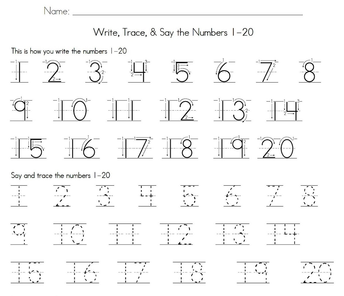 Number Tracking Worksheet 1 To 20 Best