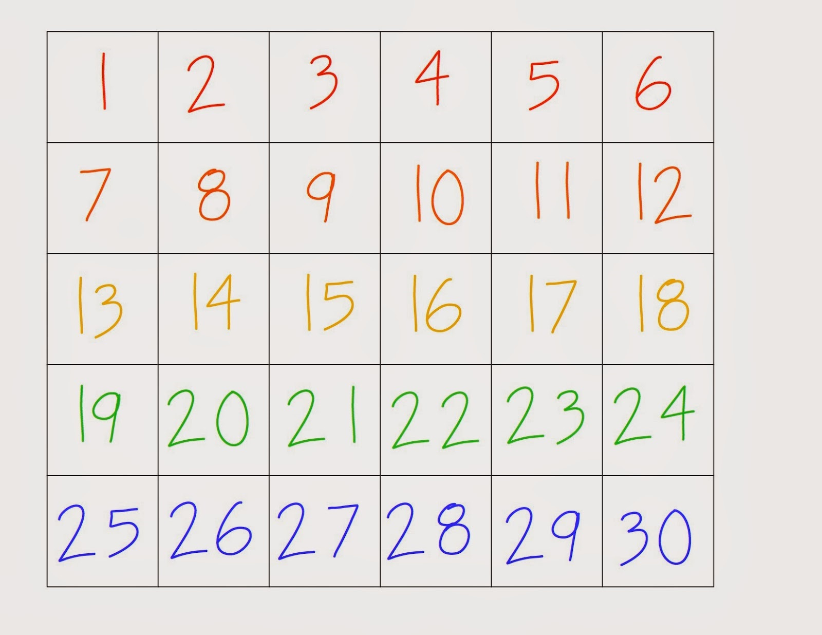 Number Chart 1 30 As Educational Learning To Count