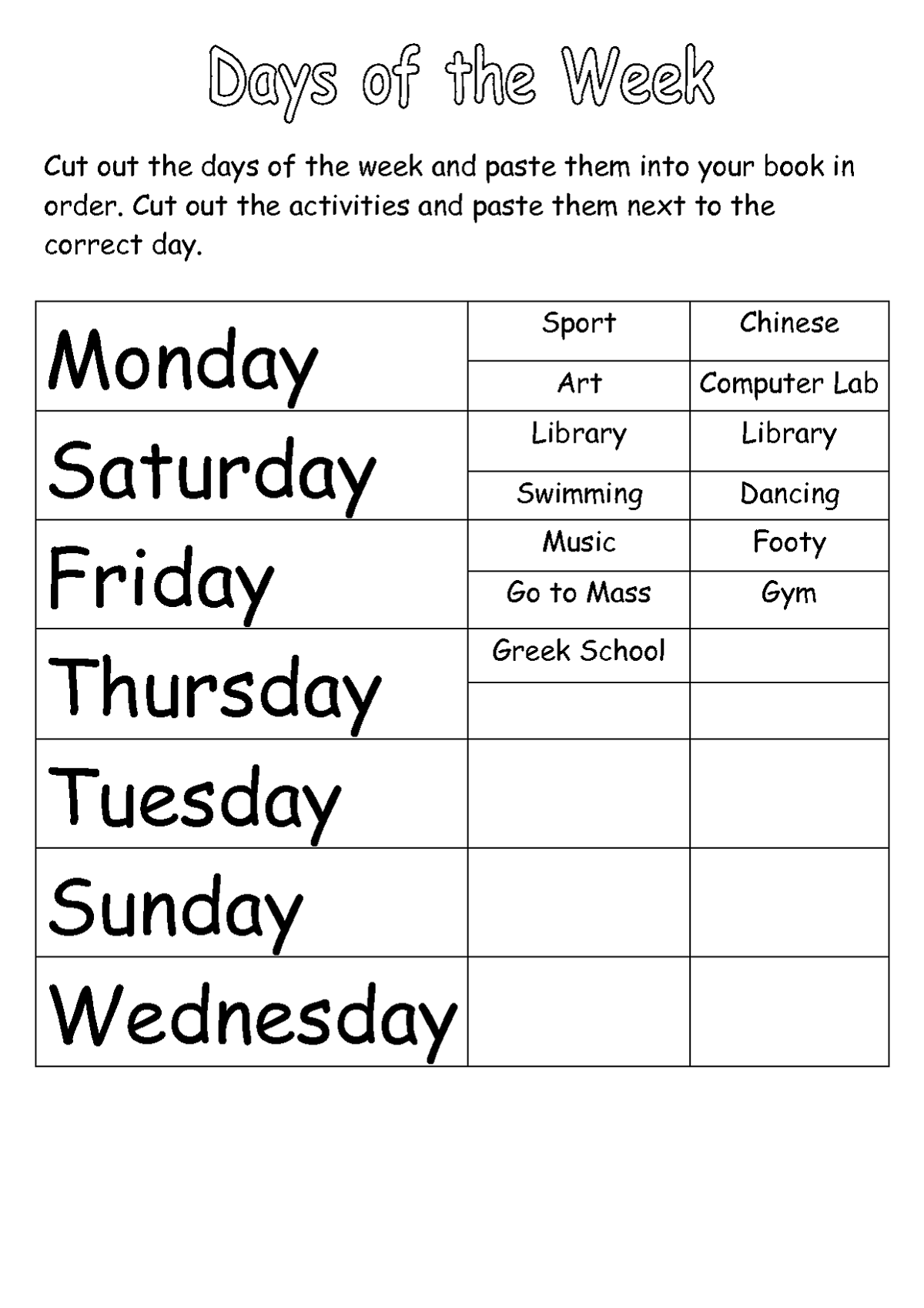 Worksheet For Days Of The Week For Kids