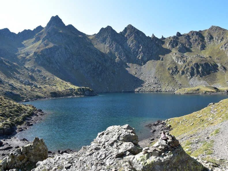 Lac Bersau and the Pic Hourquette from the Lacs et Pic d'Ayous Hike in French Pyrenees