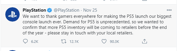 playstation tweet for more units