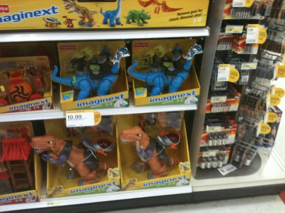 Imaginext Dino Riders on the shelf at Target
