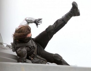 winter soldier in action on set
