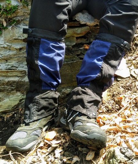 Gaitors worn over walking boots or trail runners are a great choice for beginner hikers on a budget.