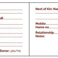 In Case Of Emergency wallet card template.