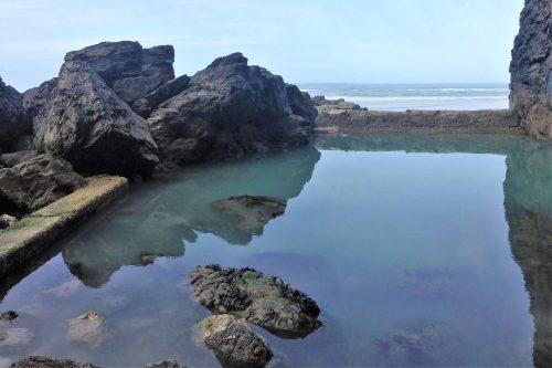 The sea pool on Porthtowan Beach 2018, South West Coast Path, Cornwall, UK. Copyright Stephanie Boon, 2018. All Rights Reserved.