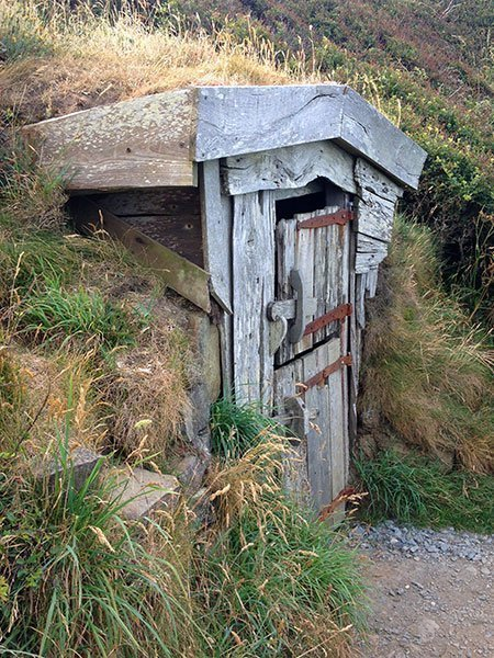 A tiny wooden hut built from the timber of shipwrecks by the Revd Hawker of Morwenstow.