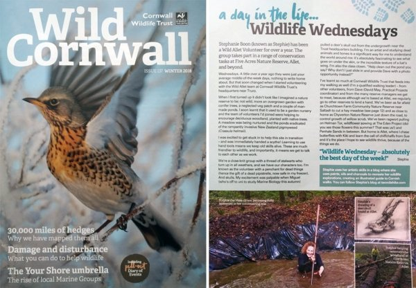 Cornwall Wildlife Trust Magazine, Winter 2018 edition with article by Stephanie Boon.