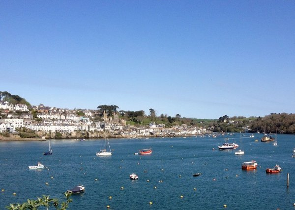 The town of Fowey, Cornwall, seen across the river from the village of Polruan