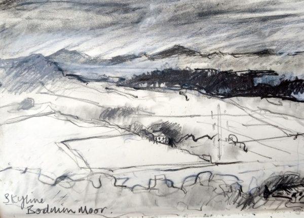 A pencil sketch of Bodmin Moor from Helman Tor.