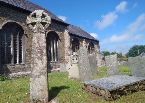 Padstow, The Saints' Way: St Petroc's Churchyard, with a Celtic cross in the foreground