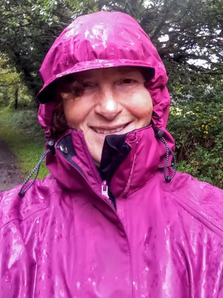 Just a bit wet - Stephanie Boon out walking in torrential rain