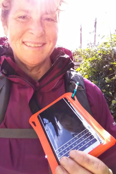 Aquapac waterproof phone case attached to a rucksack