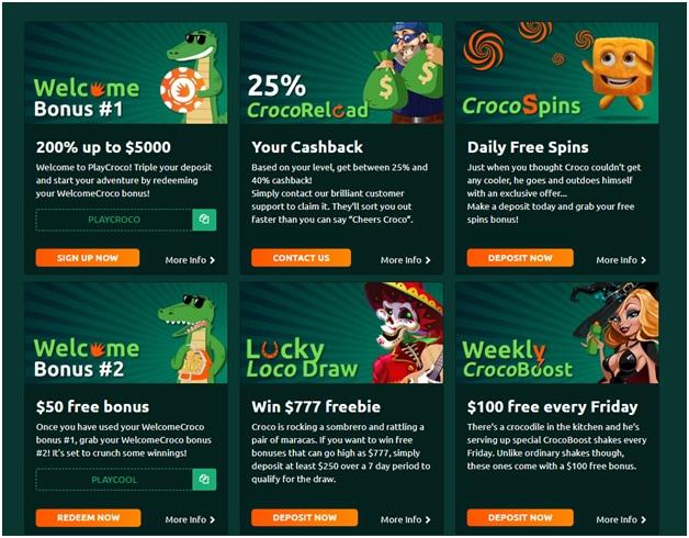 Play Croco Casino- Bonuses