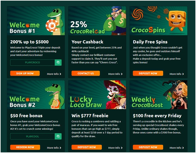 Play Croco Casino- Bonuses