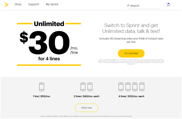 Unlimited plan from Sprint