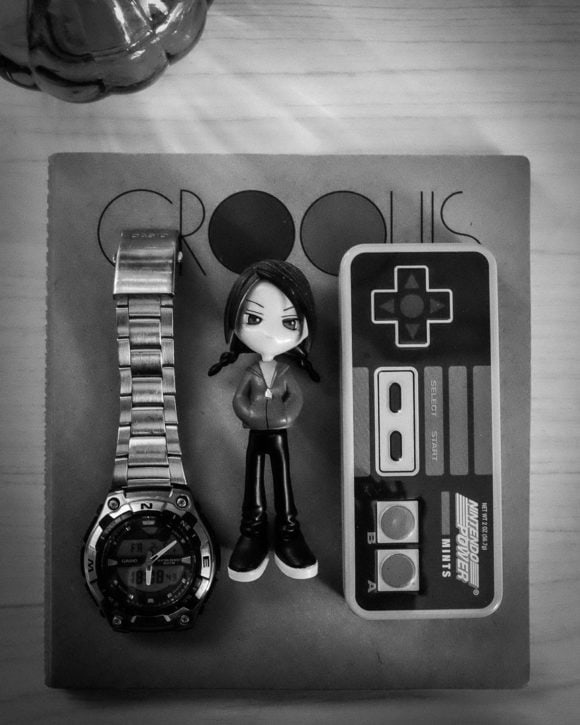 """Watch, Suu, and NES Mint Box on Sketchbook"" USA. Texas. Cedar Park. 2016."