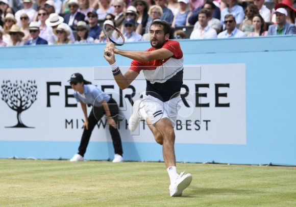 Marin Cilic of Croatia in action against Australia's Nick Kyrigos in their semi-final match at the Fever Tree Championship at Queen's Club in London, Britain, 23 June 2018. EPA-EFE/NEIL HALL
