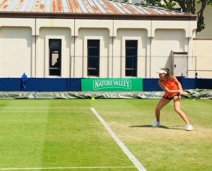 Johanna Konta during her practice session with Karolina Pliskova at the Nature Valley International tennis in Eastbourne, Great Britain, on Sunday, June 24, 2018.