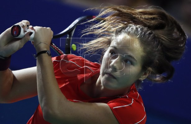 Daria Kasatkina of Russia in action during her women's quarterfinal match against Anastasia Pavlyuchenkova of Russia at the Kremlin Cup tennis tournament in Moscow, Russia, 18 October 2018.  EPA-EFE/MAXIM SHIPENKOV