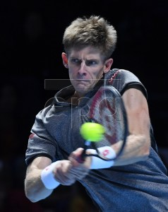 Kevin Anderson of South Africa in action during his round robin match against Japan's Kei Nishikori at the ATP Finals tennis tournment in London, Britain, 13 November 2018.  EPA-EFE/ANDY RAIN