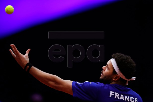 Jo-Wilfried Tsonga of France in action during his singles match against Marin Cilic of Croatia at the Davis Cup Final between France and Croatia at the Pierre Mauroy Stadium in Villeneuve-d'Ascq, near Lille, France, 23 November 2018.  EPA-EFE/YOAN VALAT