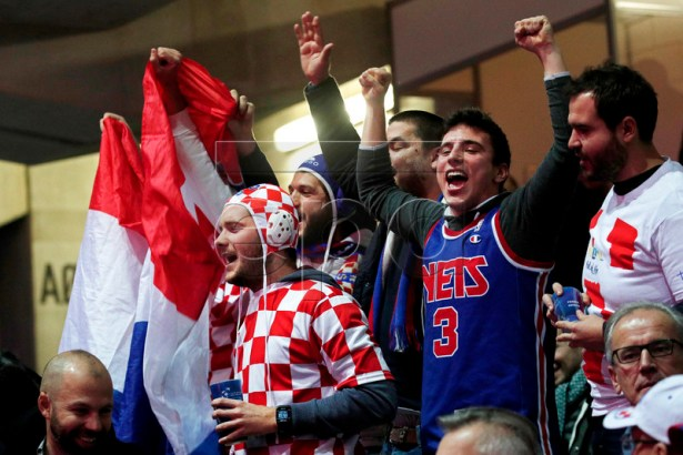Croatian supporters react during the doubles match of the Davis Cup Final between France and Croatia at the Pierre Mauroy Stadium in Villeneuve-d'Ascq, near Lille, France, 24 November 2018.  EPA-EFE/YOAN VALAT