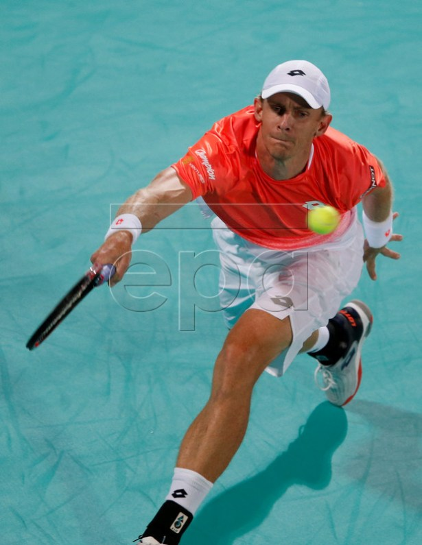 Kevin Anderson of South Africa in action during the final match against Novak Djokovic of Serbia at the Mubadala World Tennis Championship 2018 in Abu Dhabi, United Arab Emirates, 29 December 2018.  EPA-EFE/ALI HAIDER