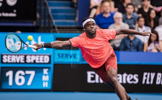 Frances Tiafoe of the USA in action during the men's singles match between the USA and Switzerland on day 4 of the Hopman Cup tennis tournament at RAC Arena in Perth, Western Australia, Australia, 01 January 2019.  EPA-EFE/TONY MCDONOUGH AUSTRALIA AND NEW ZEALAND OUT  EDITORIAL USE ONLY