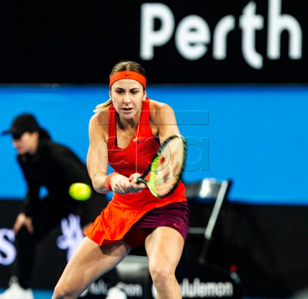 Belinda Bencic of Switzerland in action during the Women's singles match between the USA and Switzerland on day 4 of the Hopman Cup tennis tournament at RAC Arena in Perth, Western Australia, Australia, 01 January 2019.  EPA-EFE/TONY MCDONOUGH AUSTRALIA AND NEW ZEALAND OUT  EDITORIAL USE ONLY