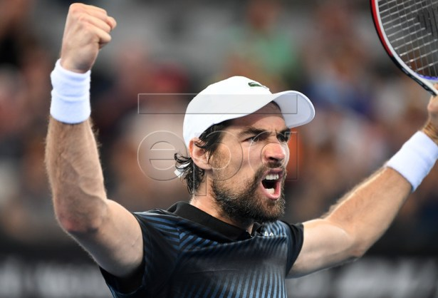 Jeremy Chardy of France celebrates winning his third round match against Yasutaka Uchiyama of Japan at the Brisbane International tennis tournament at the Queensland Tennis Centre in Brisbane, Australia, 03 January 2019.  EPA-EFE/DAN PELED EDITORIAL USE ONLY AUSTRALIA AND NEW ZEALAND OUT