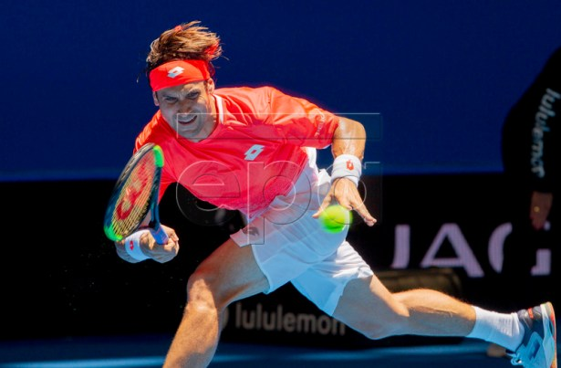 David Ferrer of Spain during the men's singles match between Spain and France on day 7 of the Hopman Cup tennis tournament at RAC Arena in Perth, Western Australia, Australia, 04 January 2019.  EPA-EFE/TONY MCDONOUGH AUSTRALIA AND NEW ZEALAND OUT  EDITORIAL USE ONLY