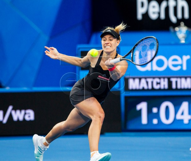 Angelique Kerber of Germany in action during the women's singles match between Switzerland and Germany on day 8 of the Hopman Cup tennis tournament at RAC Arena in Perth, Australia, 05 January 2019.  EPA-EFE/TONY MCDONOUGH AUSTRALIA AND NEW ZEALAND OUT  EDITORIAL USE ONLY