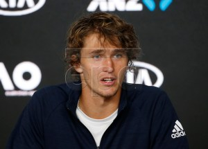 Alexander Zverev of Germany speaks to the media during a press conference ahead of the Australian Open tennis tournament in Melbourne, Australia, 12 January 2019. The Australian Open will run from 14 January to 27 January 2019. EPA-EFE/LYNN BO BO