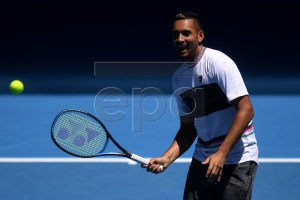 Nick Kyrgios of Australia in action during a training session prior to the 2019 Australian Open tennis tournament in Melbourne, Australia, 13 January 2019.  EPA-EFE/LUKAS COCH EDITORIAL USE ONLY AUSTRALIA AND NEW ZEALAND OUT