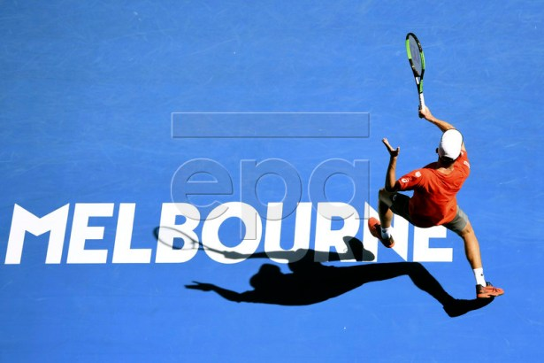 Alex de Minaur of Australia in action against Pedro Sousa of Portugal during their men's singles match during day one of the Australian Open Grand Slam tennis tournament in Melbourne, Australia, 14 January 2019. EPA-EFE/LUKAS COCH AUSTRALIA AND NEW ZEALAND OUT