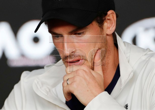 Andy Murray of Britain attends a press conference after losing his men's singles first round match against Roberto Bautista Agut of Spain at the Australian Open Grand Slam tennis tournament in Melbourne, Australia, 15 January 2019. EPA-EFE/LYNN BO BO