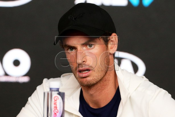 Andy Murray of Britain speaks during a press conference after losing his first round match against Roberto Bautista Agut of Spain at the Australian Open tennis tournament in Melbourne, Australia, 15 January 2019. EPA-EFE/HAMISH BLAIR AUSTRALIA AND NEW ZEALAND OUT