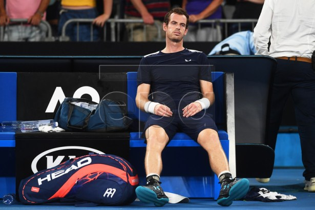 Andy Murray of Britain reacts after losing his first round match against Roberto Bautista Agut of Spain at the Australian Open tennis tournament in Melbourne, Australia, 14 January 2019. EPA-EFE/JULIAN SMITH AUSTRALIA AND NEW ZEALAND OUT