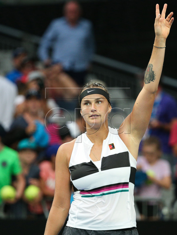 Aryna Sabalenka of Belarus reacts after defeating Katie Boulter of Great Britain during day three of the Australian Open tennis tournament in Melbourne, Victoria, Australia, 16 January 2019.  EPA-EFE/HAMISH BLAIR  AUSTRALIA AND NEW ZEALAND OUT