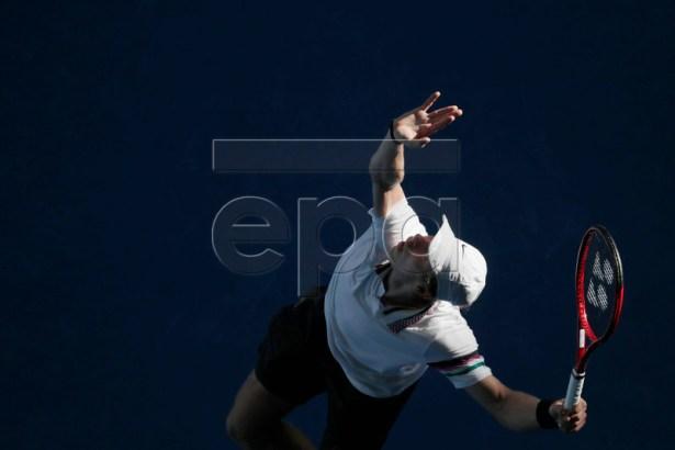 Denis Shapovalov of Canada in action during his round three men's singles match against Novak Djokovic of Serbia at the Australian Open Grand Slam tennis tournament in Melbourne, Australia, 19 January 2019.  EPA-EFE/MAST IRHAM