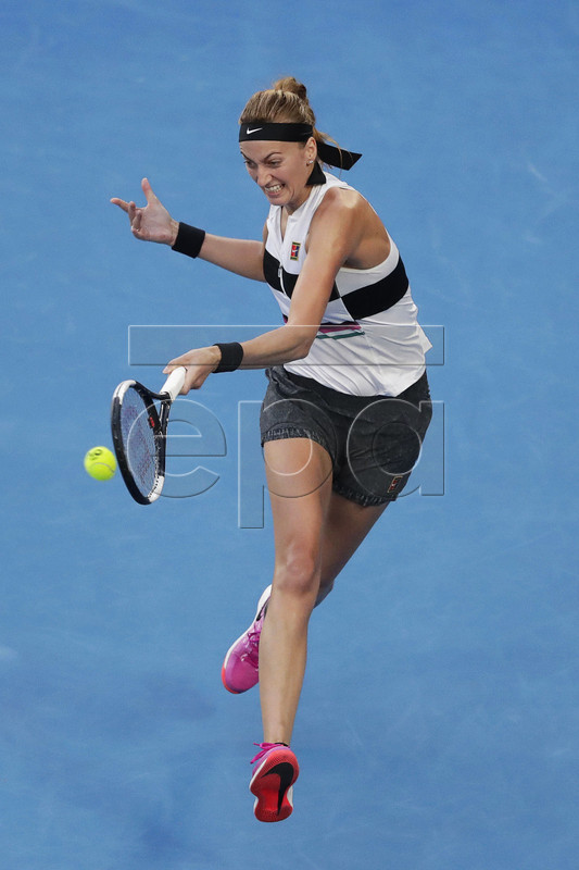 Petra Kvitova of the Czech Republic in action during her women's singles quarter final match against Ashleigh Barty of Australia at the Australian Open Grand Slam tennis tournament in Melbourne, Australia, 22 January 2019.  EPA-EFE/MAST IRHAM