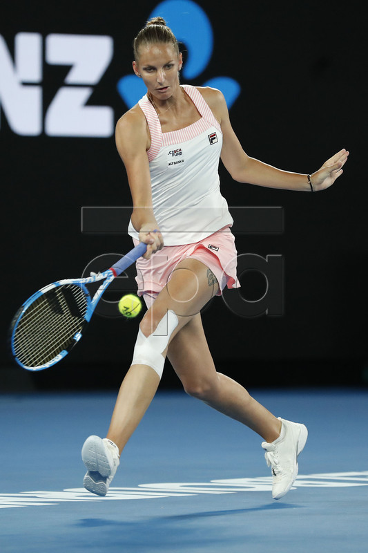 Karolina Pliskova of the Czech Republic in action against Naomi Osaka of Japan during their women?s singles semifinal match at the Australian Open Grand Slam tennis tournament in Melbourne, Australia, 24 January 2019. EPA-EFE/RITCHIE TONGO