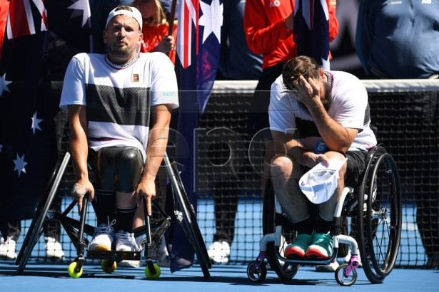 Dylan Alcott of Australia (L) reacts after winning the quad wheelchair singles final against David Wagner (R) of the United States on day 13 of the Australian Open Grand Slam tennis tournament in Melbourne, Australia, 26 January 2019.  EPA-EFE/LUKAS COCH EDITORIAL USE ONLY AUSTRALIA AND NEW ZEALAND OUT