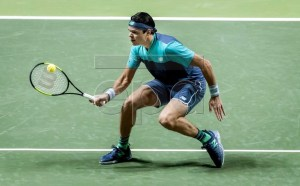 Canadian Milos Raonic in action during his match against Swiss Stan Wawrinka at the ABN AMRO Tennis tournament in Rotterdam, Wednesday 13 February 2019. EPA-EFE/KOEN VAN WEEL