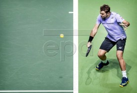 Swiiss Stan Wawrinka in action during the semi-final against Kei Nishikori of Japan at the ABN AMRO World Tennis Tournament in Rotterdam, The Netherlands, 16 February 2019. EPA-EFE/KOEN VAN WEEL