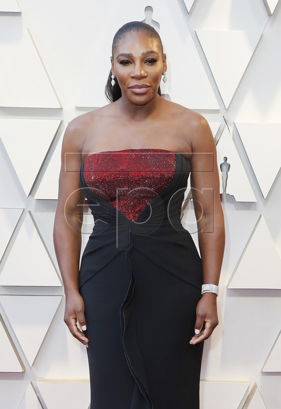 Serena Williams arrives for the 91st annual Academy Awards ceremony at the Dolby Theatre in Hollywood, California, USA, 24 February 2019. The Oscars are presented for outstanding individual or collective efforts in 24 categories in filmmaking.  EPA-EFE/ETIENNE LAURENT
