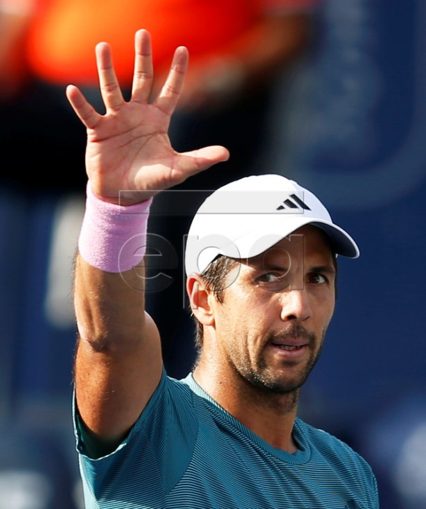 Fernando Verdasco of Spain reacts after defeating Thomas Fabbiano of Italy in their first round match of the Dubai Duty Free Tennis ATP Championships 2019 in Dubai, United Arab Emirates, 25 February 2019.  EPA-EFE/ALI HAIDER