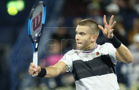 Borna Coric of Croatia in action during his semi final match against Roger Federer of Switzerland at Dubai Duty Free Tennis ATP Championships 2019 in Dubai, United Arab Emirates, 01 March 2019.  EPA-EFE/ALI HAIDER